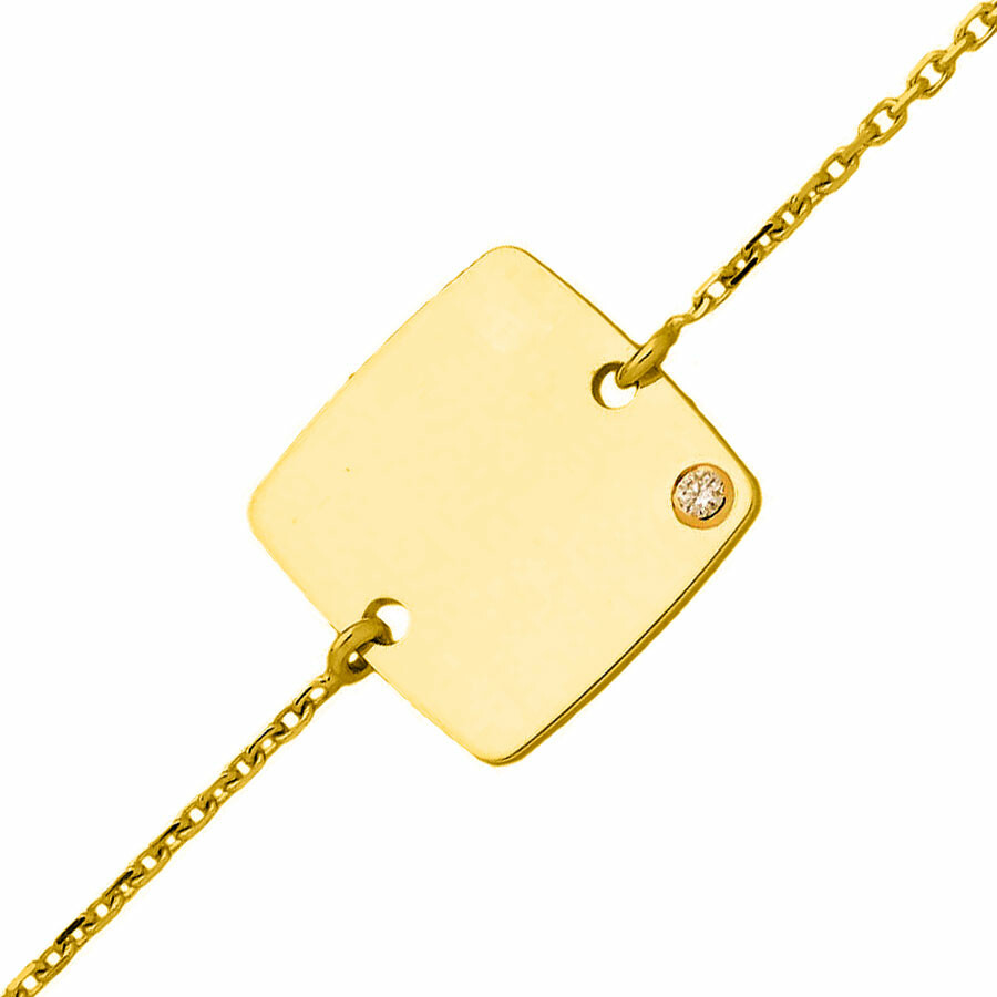Photo de Gourmette enfant carré - diamant & or jaune 18ct