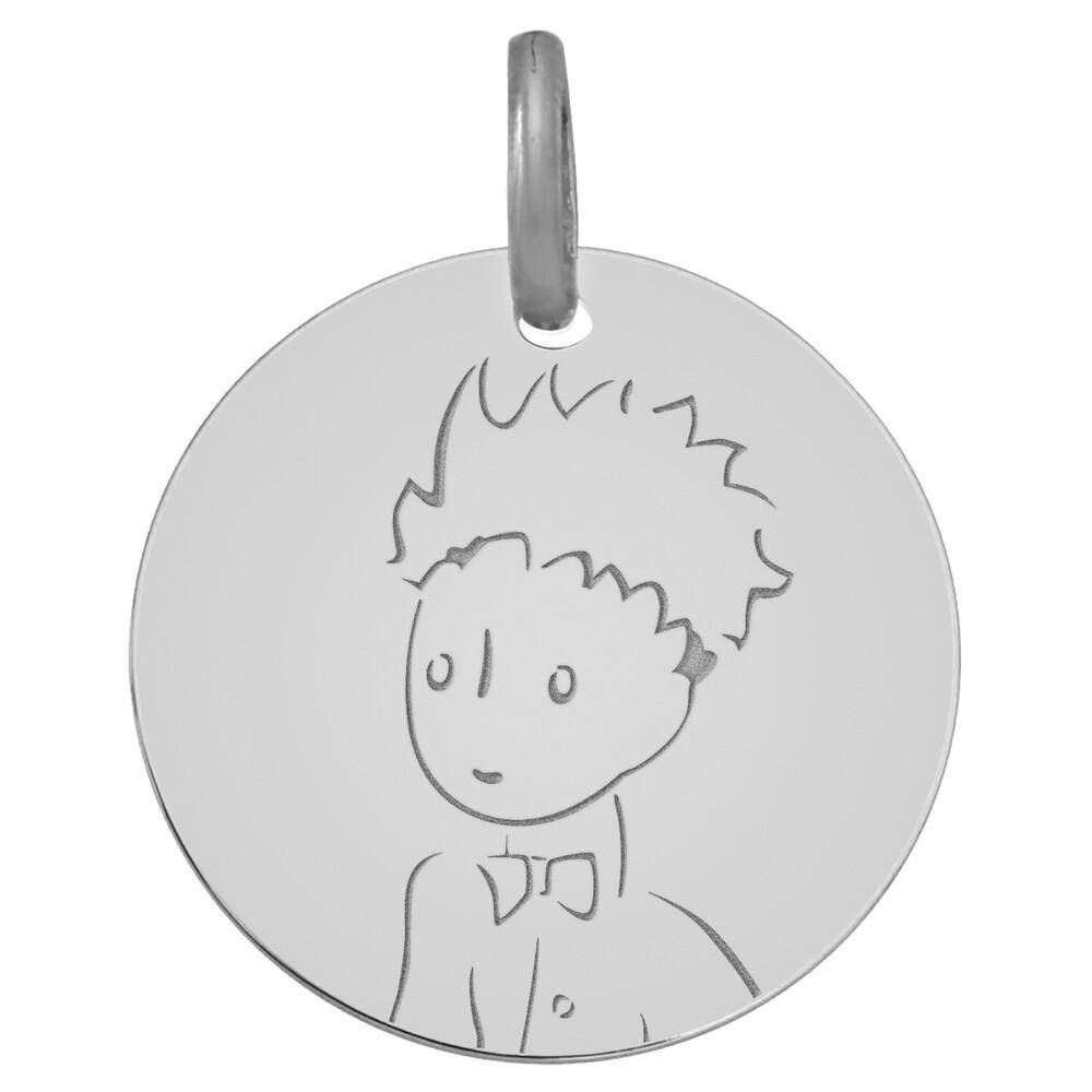 Photo de Médaille Petit Prince portrait - Or blanc 9ct