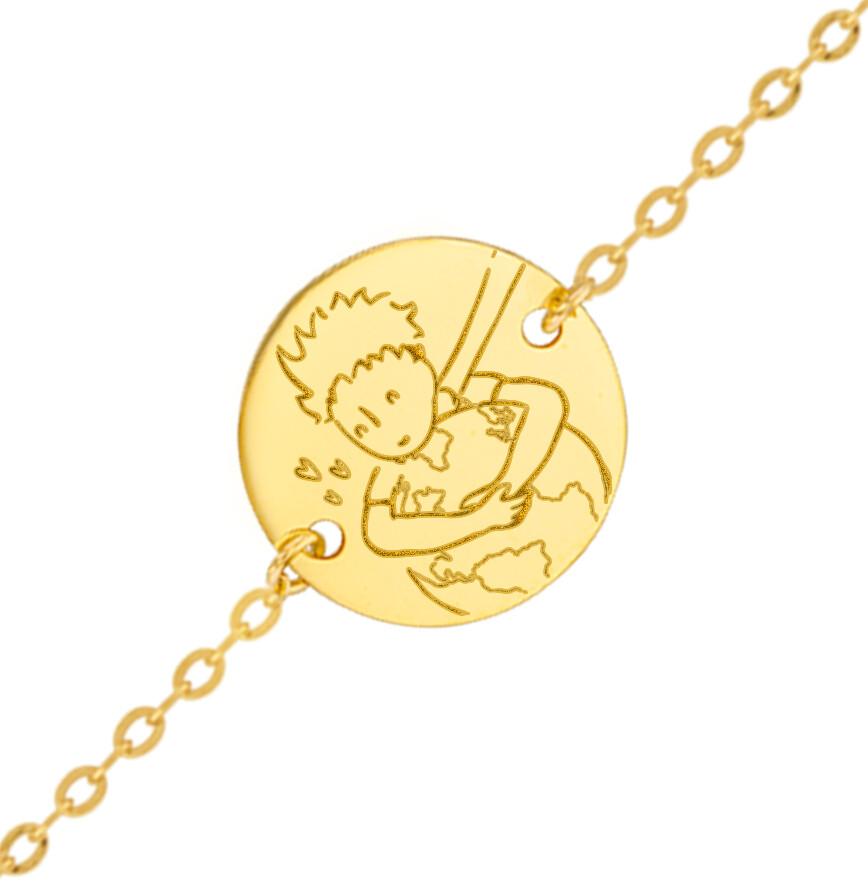 """Photo de Gourmette bébé Petit Prince """"save the planet"""" - Or jaune 9ct"""