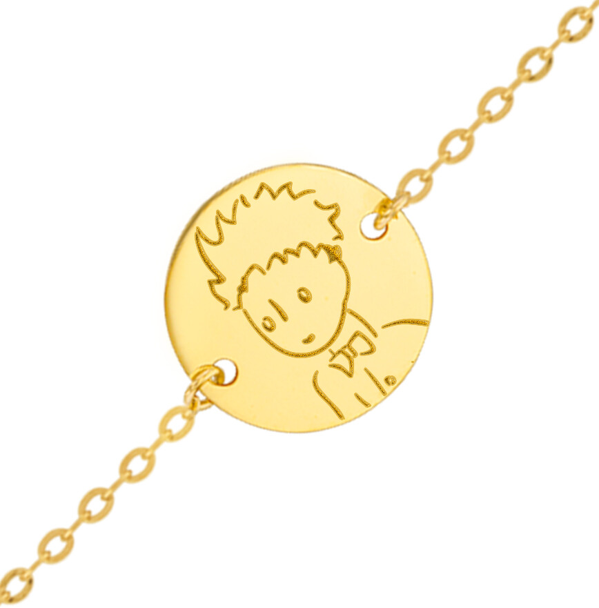 Photo de Gourmette bébé Petit Prince portrait - Or jaune 9ct