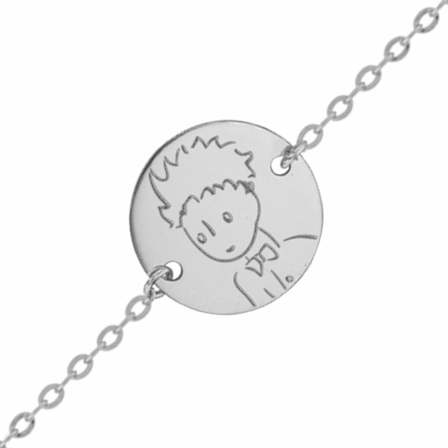 Photo de Gourmette bébé Petit Prince portrait - Or blanc 9ct