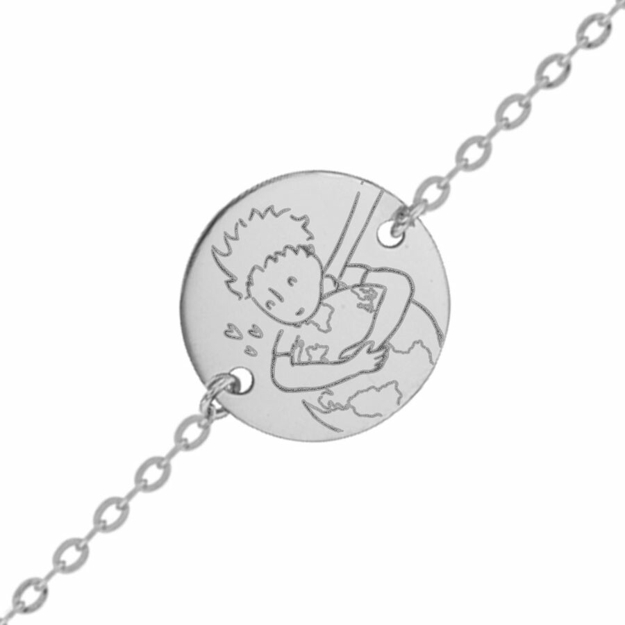 "Photo de Gourmette bébé Petit Prince ""save the planet"" - Or blanc 9ct"