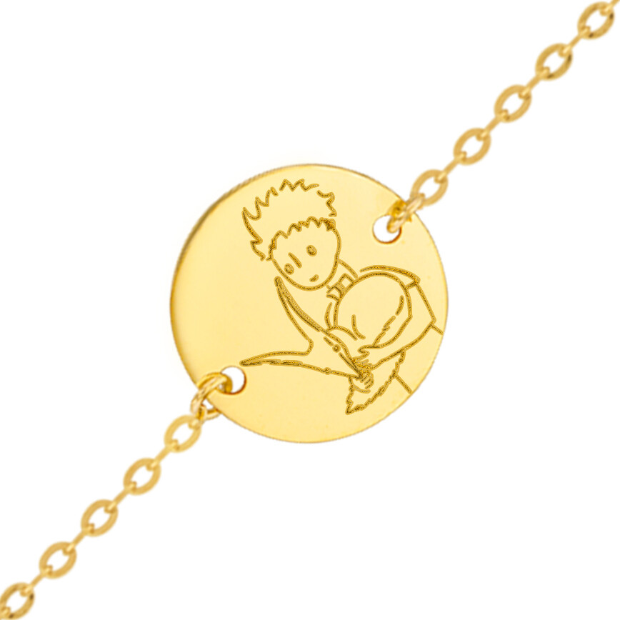 Photo de Gourmette bébé Petit Prince au renard - Or jaune 18ct