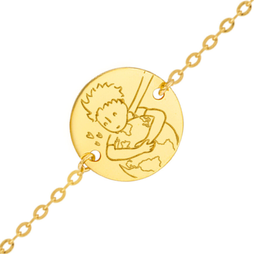 "Photo de Gourmette bébé Petit Prince ""save the planet"" - Or jaune 18ct"