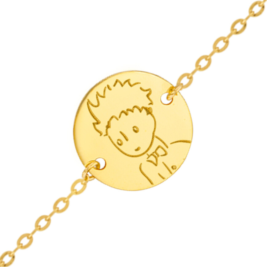 Photo de Gourmette bébé Petit Prince portrait - Or jaune 18ct