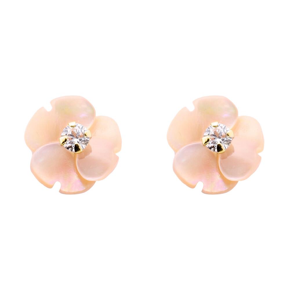 Photo de Boucles d'oreilles fleurs roses oxyde - Vis - Or jaune 9ct & nacre
