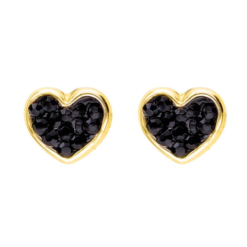 Photo de Boucles d'oreilles coeurs noirs - Vis - Or jaune 9ct